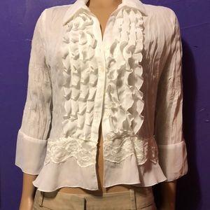 Alison Taylor white ruffle lace shirt women's lg